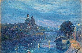395. Erik Tryggelin, Evening light over Stockholm, scene from the Karlberg Canal.