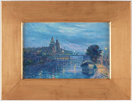 Erik tryggelin, evening light over stockholm, scene from the karlberg canal.