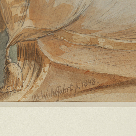 Berhard wilhelm wohlfahrt, watercolour, signed and dated 1848.