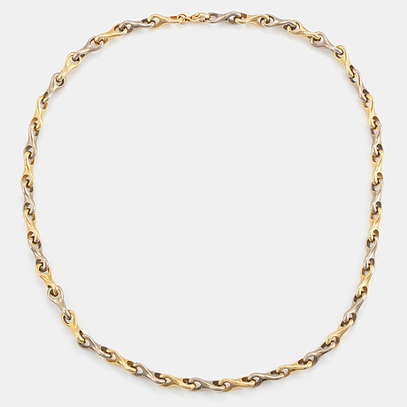 An 18k gold necklace in 18k gold and white gold.