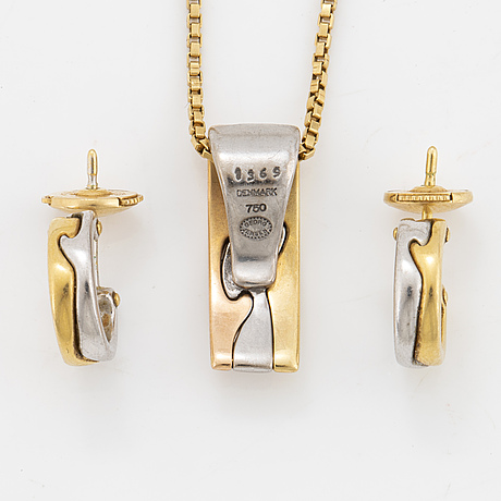 Georg jensen, set, fusion, earrings and pendant 18k guld.