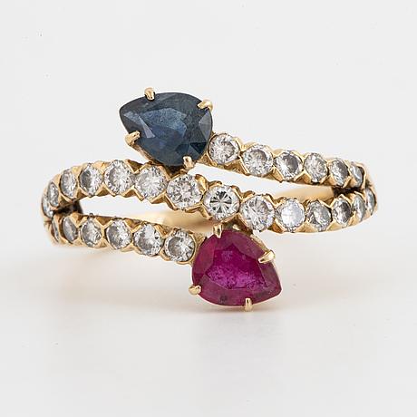 Ruby, sapphire and brilliant-cut diamond ring.