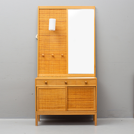 An oak mirror and sideboard from fröseke, 1960's.