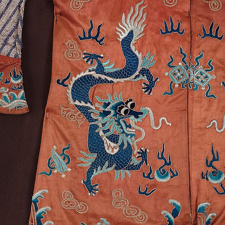 A chinese embroidered silk robe, qing dynasty, 19th century.