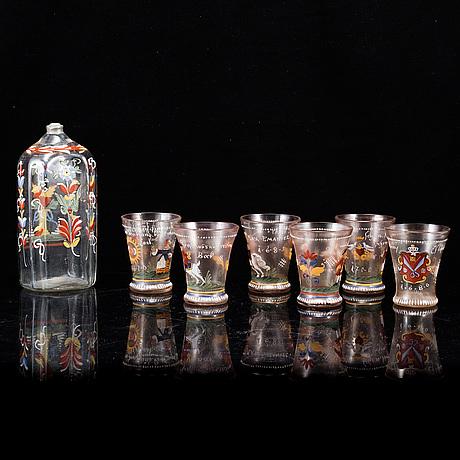 Glas, sex stycken, samt flaska, glas. historismus, omkring 1900.