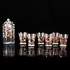 A group of six beaker glasses and a bottle, historismus, circa 1900.