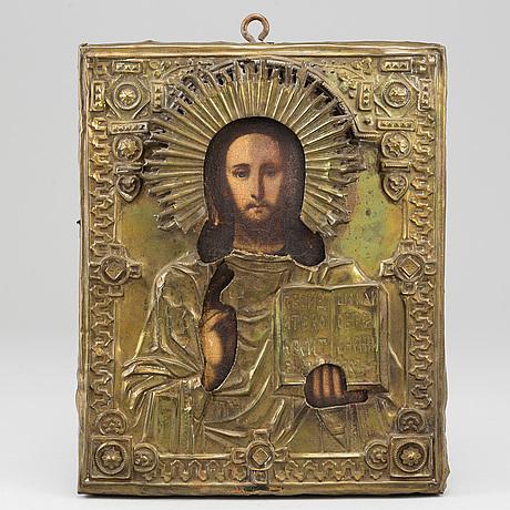 Icon, russia, 19th cenrury, tempera on panel, with ochlad.