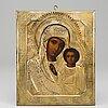 Icon, russia, 19/20th cenrury, tempera on panel, with ochlad.