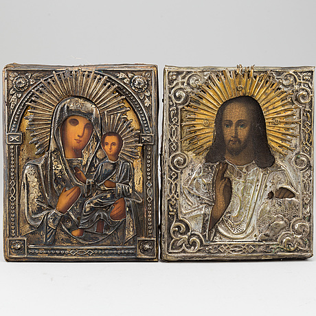Icons, 2, russia , 19th century, tempera on panel, with ochlad.