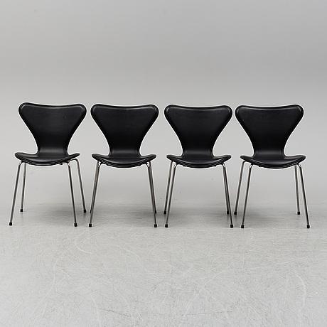 Arne jacobsen, four 'series 7' chairs from fritz hansen, denmark, 2016.