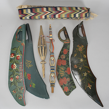 A collection of 7 swedish folk art objects 19th century.
