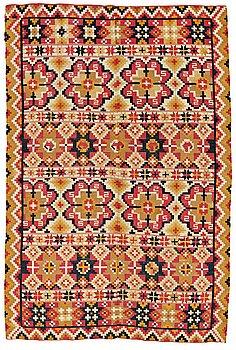 "298. A BEDCOVER, double-interlocked tapestry, ""Dubbelstjärnor"", ca 179,5-182-5 x 120-121,5 cm, north eastern Scania (Sweden)."