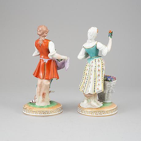 Figuriner, ett par, porslin, dresden. 1900-tal.