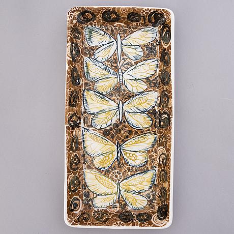 Heini riitahuhta, a porcelain flower plate 'butterfly' signed heini riitahuhta.