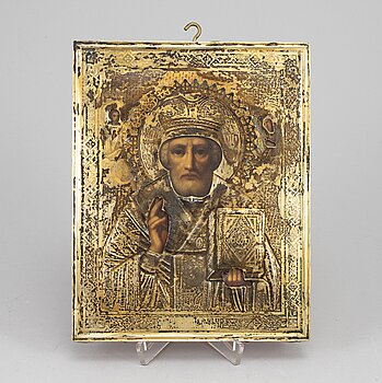 A Russian early 20th century silver-gilt icon, mark possibly of Vasily Kubalyev, Moscow.
