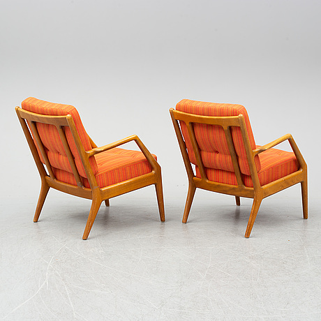 A france & daverkosen sofa and two easy chairs, denmark, 1950's/60's.