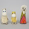 A set of three 1950's-/60's moomin characters from ateljé fauni.