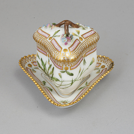 "A ""3575"" cream cup with saucer, from the flora danica collection by royal copenhagen."