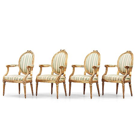 Four late gustavian armchairs (one french, three swedish), beginning of the 19th century.