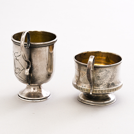 Two russian silver charka vodka cups, moscow 1908-1926.