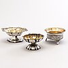 Three russian silver salt cellars, moscow and saint petersburg 1833-69.