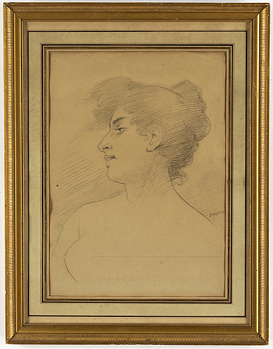 August hagborg, pencil drawing, signed.
