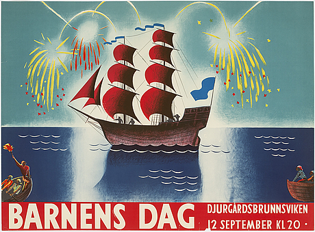 Torsten schonberg, attributed to. a litohgraphic vintage poster, 'barnens dag', 1920's.
