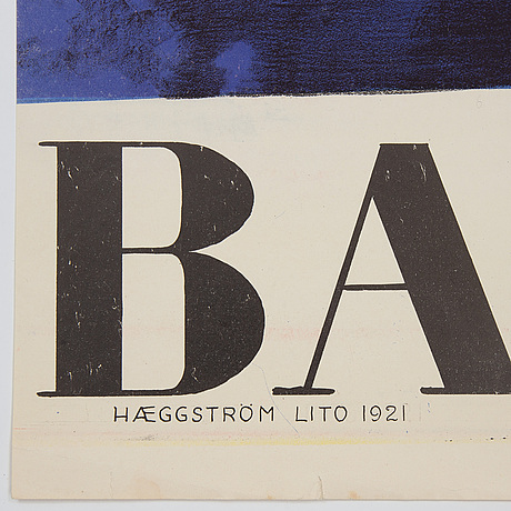 Torsten schonberg, a lithographic vintage poster, 'barnens dag', haeggström lito, 1921.