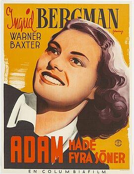 "ERIC ROHMAN, litografisk filmaffisch, ""Adam hade fyra söner"", Ingrid Bergman, J. Olséns Litografiska Anstalt, 1941."