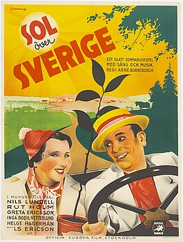 "ERIC ROHMAN, litografisk filmaffisch, ""Sol över Sverige"", Ljunglöfs, Stockholm, 1938."