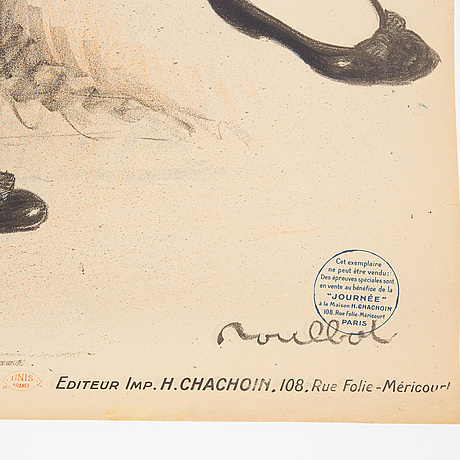 Francisque poulbot, a lithographic vintage poster, 'journée de paris', editeur imp. h. chachoin, paris, france, 1917.