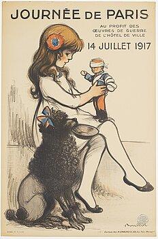 """FRANCISQUE POULBOT, litografisk affisch, """"Journée de Paris"""", Editeur Imp. H. Chachoin, Paris, Frankrike, 1917."""