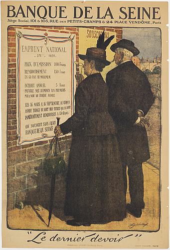 Lucien hector jonas, a lithographic vintage poster, 'banque de la seine', imprimeries joseph-charles, paris, 1920.