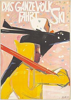 "HANS FALK, litografisk affisch, ""Das ganze Volk fährt Ski"", J.C. Müller, Zürich, Schweiz, 1943."