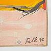 Hans falk, a lithographic vintage travel poster, 'das ganze volk fährt ski', switzerland, 1943.