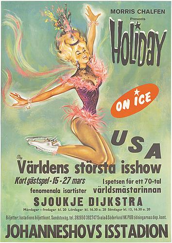 Pierre o'kley, offset vintage poster, 'holiday on ice', sjoukje dijkstra, 1964-72.