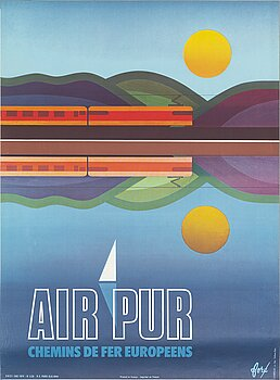 FORÉ, a vintage travel poster, 'Air Pur', SNCF, Chabrillac s.a. Imp. Toulouse Paris, France, 1974.