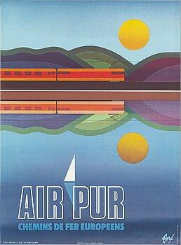 """FORÉ, offsetaffisch, """"Air Pur"""", SNCF,  Chabrillac s.a. Imp. Toulouse Paris, Frankrike. 1974."""