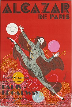 """ERTÉ, litografisk affisch, """"Alcazar de Paris"""", Ets St Martin Imp, Paris, Frankrike, omkring 1970."""