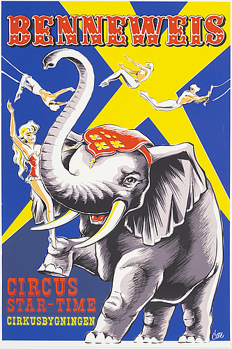 A lithographic vintage poster, 'benneweis circus star-time', denmark, 1970's.