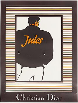 "RENÉ GRUAU, a vintage poster, ""Christian Dior Jules, édition FAB and CO, France, 1980's."