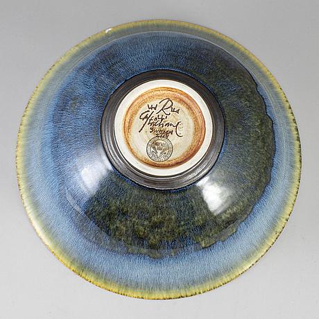 Carl-harry stÅlhane, a unique large stoneware bowl, rörstrand, sweden 1960's.