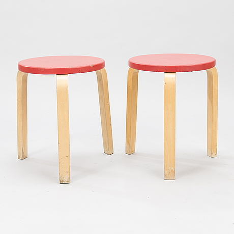 Alvar aalto, two mid-20th-century '60' stools for artek.