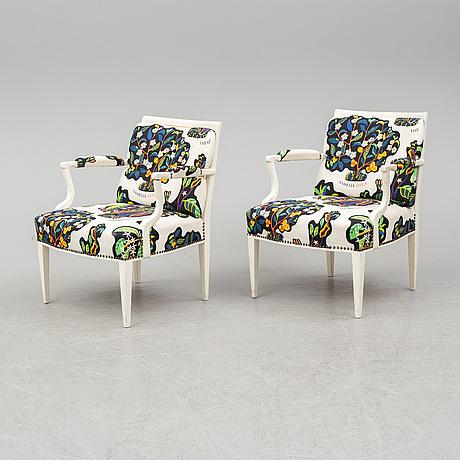 Josef frank, a pair of '969' armchairs by firma svenskt tenn.