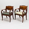 A set of six russian armchair and tabourets from latter half of the 19th century.