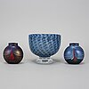Bertil vallien, a glass bowl and two vases, kosta boda. signed.