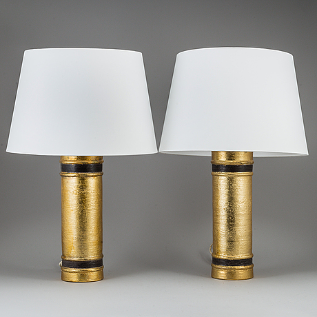 Bitossi, a pair of earthenware table lights, italy.