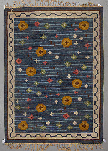 Anna-greta sjÖqvist, a carpet, flat weave, ca 235,5-236,5 x 167,5-169,5 cm, signed ags.