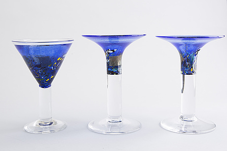 Bertil vallien, 6 glass objects, kosta boda.