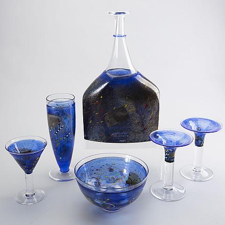 Bertil vallien, 6 st, glasföremål, kosta boda.